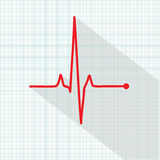 Vector pulse icon isolated over cardiogram grid Royalty Free Stock Photos