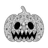 Vector Pumpkin illustration, Hand drawn Helloween vegetable in z Stock Photography