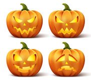 Vector pumpkins with set of different faces for halloween icon Stock Photo