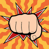 Vector of punching hand with a clenched fist aimed Stock Image