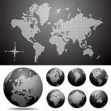 Vector punktierte Karte und Kugel der Welt lizenzfreie abbildung