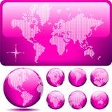 Vector punktierte Karte und Kugel der Welt - ROSA Lizenzfreies Stockbild