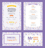 Vector Puprle Holiday Party Invitation Set. With Holly Berry Pattern Frame. Invite menu thank you placement card graphic design Stock Images