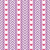 Vector purper chevronpatroon met rode harten royalty-vrije stock afbeelding