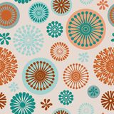 Abstract floral elements seamless pattern. Vector purple abstract floral elements seamless pattern background on off white with turquoise, purple and orange vector illustration