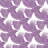 Vector Purple Bird Silhouettes Diagonal Seamless Stock Images