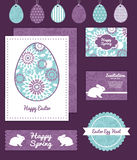 Vector purple and blue floral abstract set of Royalty Free Stock Photo