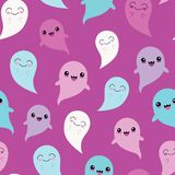 Vector Purple Blue Ghosts Seamless Pattern Background stock image