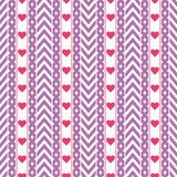 Vector purple chevron pattern with red hearts royalty free stock image