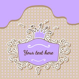 Vector purple frame with crown Stock Images