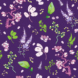 Vector Purple Green Japanese Kimono Floral Royalty Free Stock Photography