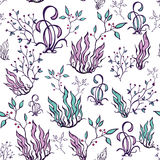 Vector Purple Green Seaweed Seamless Pattern Royalty Free Stock Image