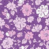 Vector purple kimono florals seamless pattern Stock Image