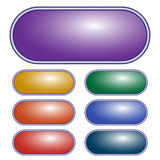 Vector Purple oval button. Set of different colored buttons. stock illustration