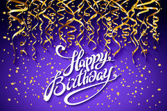 Vector purple party background. Happy Birthday Celebration Design, Vector gold confetti Elements, Greeting Card Template Violet  Royalty Free Stock Photo