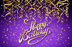 Vector purple party background. Happy Birthday Celebration Design, Vector gold confetti Elements, Greeting Card Template Violet  Royalty Free Stock Photography