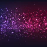 Vector purple-pink Christmas background with colorful stars. And lighting effects Royalty Free Stock Image