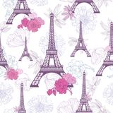 Vector Purple Pink Eifel Tower Paris and Roses Flowers Seamless Repeat Pattern. Perfect for travel themed postcards Stock Photos
