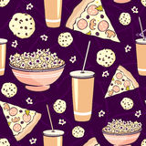 Vector Purple Pink Pajama Party Movie Night  Food Royalty Free Stock Photography