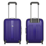 Vector purple plastic suitcase on castors with retractable handle, front view and rear view Royalty Free Stock Photography