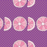 Vector purple seamless pattern. Oranges and dots Royalty Free Stock Photography