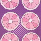 Vector purple seamless pattern. Oranges and dots Stock Image