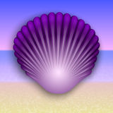 Vector purple shell illustration on the summer sea Royalty Free Stock Photos