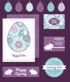 Vector purpurroten und blauen Blumenzusammenfassungssatz von Lizenzfreies Stockfoto