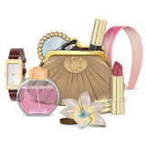 Vector Purse with Accessories Stock Images
