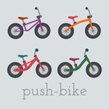Vector push-bike set illustration. Stock Photography
