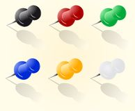 Vector push pin set Stock Images