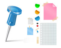Vector push pin and stickers Stock Images