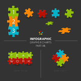 Vector puzzle elements for your infographics. Part 12. of my infographic bundle, dark version Stock Illustration