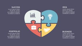 Vector puzzle heart love valentine infographic, cycle diagram, graph, presentation. Circle arrows diagram for graph infographic presentation with steps parts Royalty Free Stock Photos