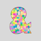 Vector Puzzle Jigsaw Colored Ampersand Mark. Stock Photos