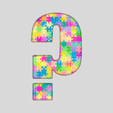 Vector Puzzle Jigsaw Colored Question Mark. Royalty Free Stock Photography