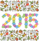 Vector puzzle numbers 2015 Stock Images