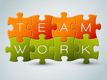 Vector puzzle teamwork illustration Royalty Free Stock Images