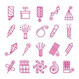 Vector pyrotechnic icons set. Celebration festival dynamite fireworks with sparks and explosions signs Stock Photos