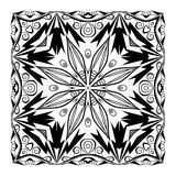 Vector quadratic mandala. Ethnic decorative elements. Hand drawn. Background. Black and white ornament Royalty Free Stock Images