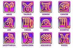 Vector quadratische purpurrote Astrologie Zeichen, 12 Tierkreissymbole APP-Ikonen für Ui lizenzfreie abbildung
