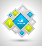 Vector quadratisches modernes mit Ikonen für Geschäftskonzepte Lizenzfreies Stockbild