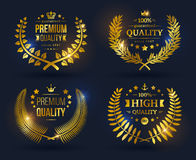 Vector quality emblems with laurel wreath Royalty Free Stock Images