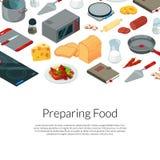 Vector que cocina el ejemplo isométrico de los objetos de la comida libre illustration