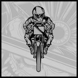 Vector que compite con de la motocicleta del cráneo ilustración del vector