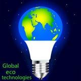 Vector que dibuja la lámpara del LED Protección del mundo del eco, de la naturaleza de ahorro y del ambiente ilustración del vector