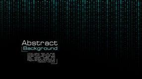 Vector que fluye c?digo binario azul en fondo negro stock de ilustración