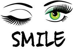 Vector que guiña ojos verdes con el texto de la sonrisa fotografía de archivo