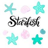 Vector que pone letras al ejemplo con las estrellas de mar stock de ilustración