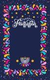 Vector que pone letras al texto Jánuca feliz Festival judío de la celebración de las luces, marco festivo, menorah, David Star, v stock de ilustración